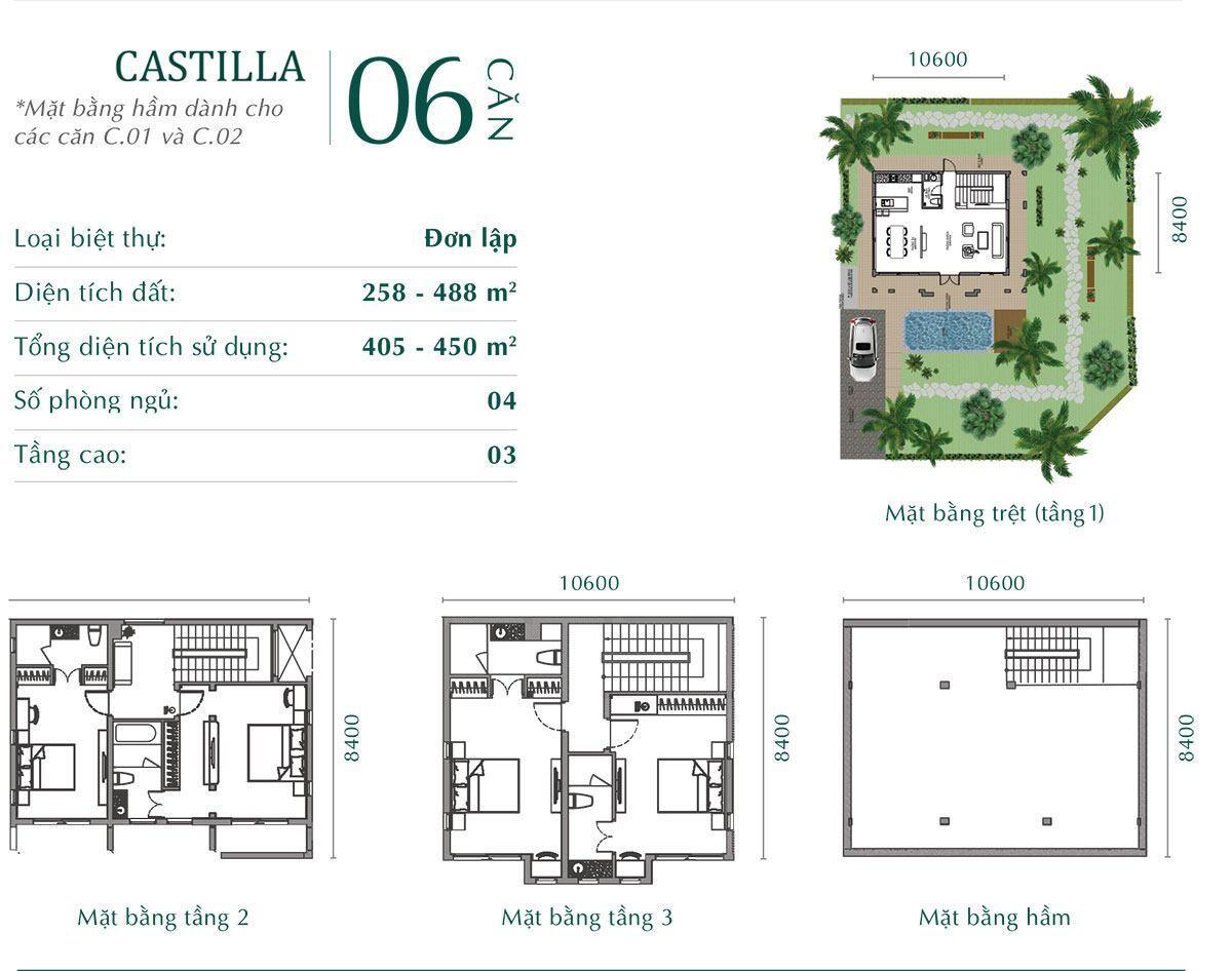 Mặt bằng tầng biệt thự đơn lập Castilla.