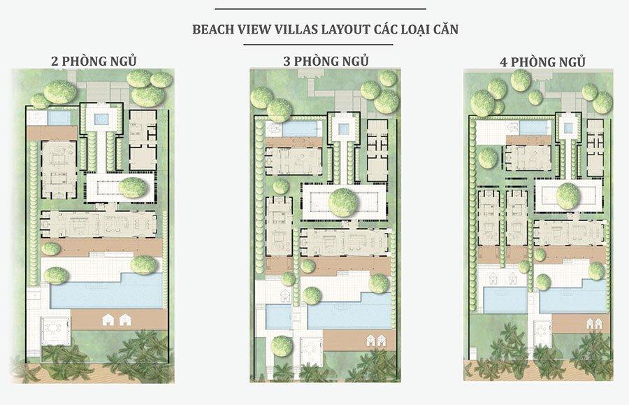 Mặt bằng thiết kế các căn biệt thự Beach View Villas.