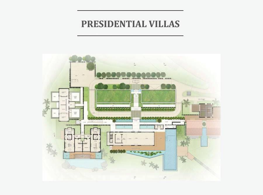 Mặt bằng thiết kế giành cho căn biệt thự tổng thống duy nhất của dự án.