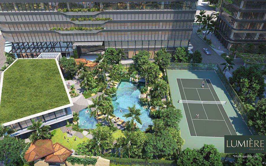 Khu tiện ích Clubhouse và sân Tennis trong lòng dự án.