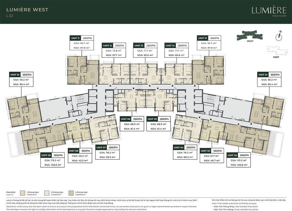 Mặt bằng tầng điển hình tòa Lumiere West - Tầng 32.