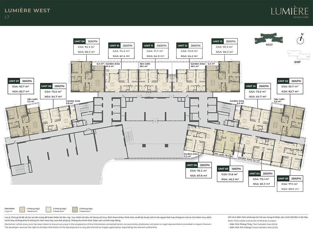 Mặt bằng tầng điển hình tòa Lumiere West - Tầng 07.