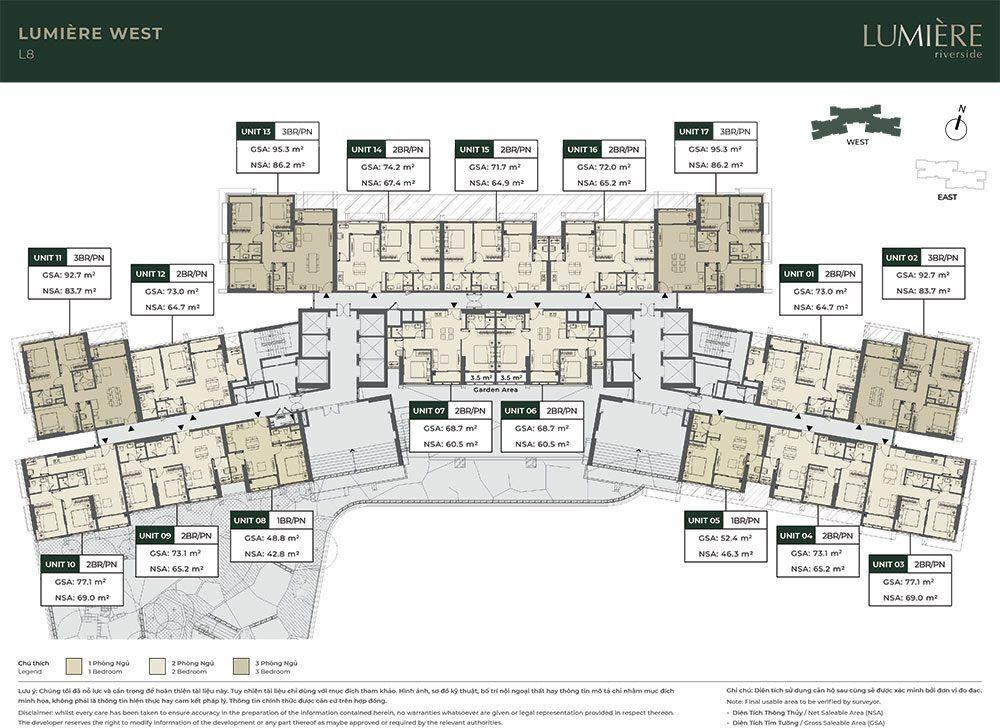 Mặt bằng tầng điển hình tòa Lumiere West - Tầng 08.