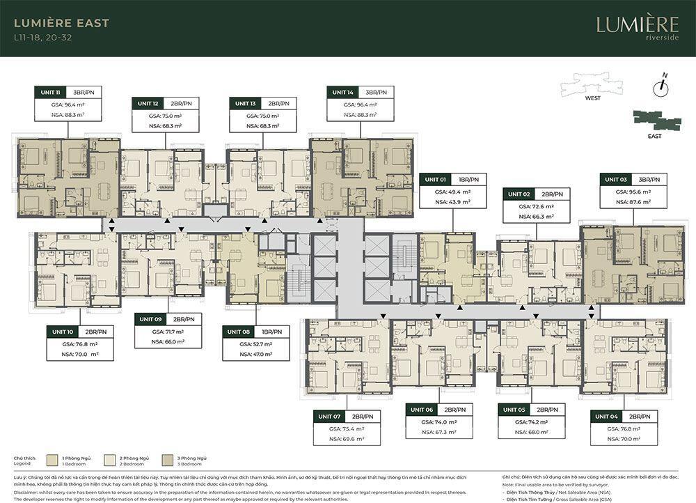 Mặt bằng tầng điển hình tòa Lumiere East - Tầng 11 đến tầng 18 và tầng 20 đến tầng 32.