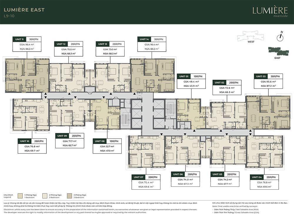 Mặt bằng tầng điển hình tòa Lumiere East - Tầng 9 đến tầng 10.