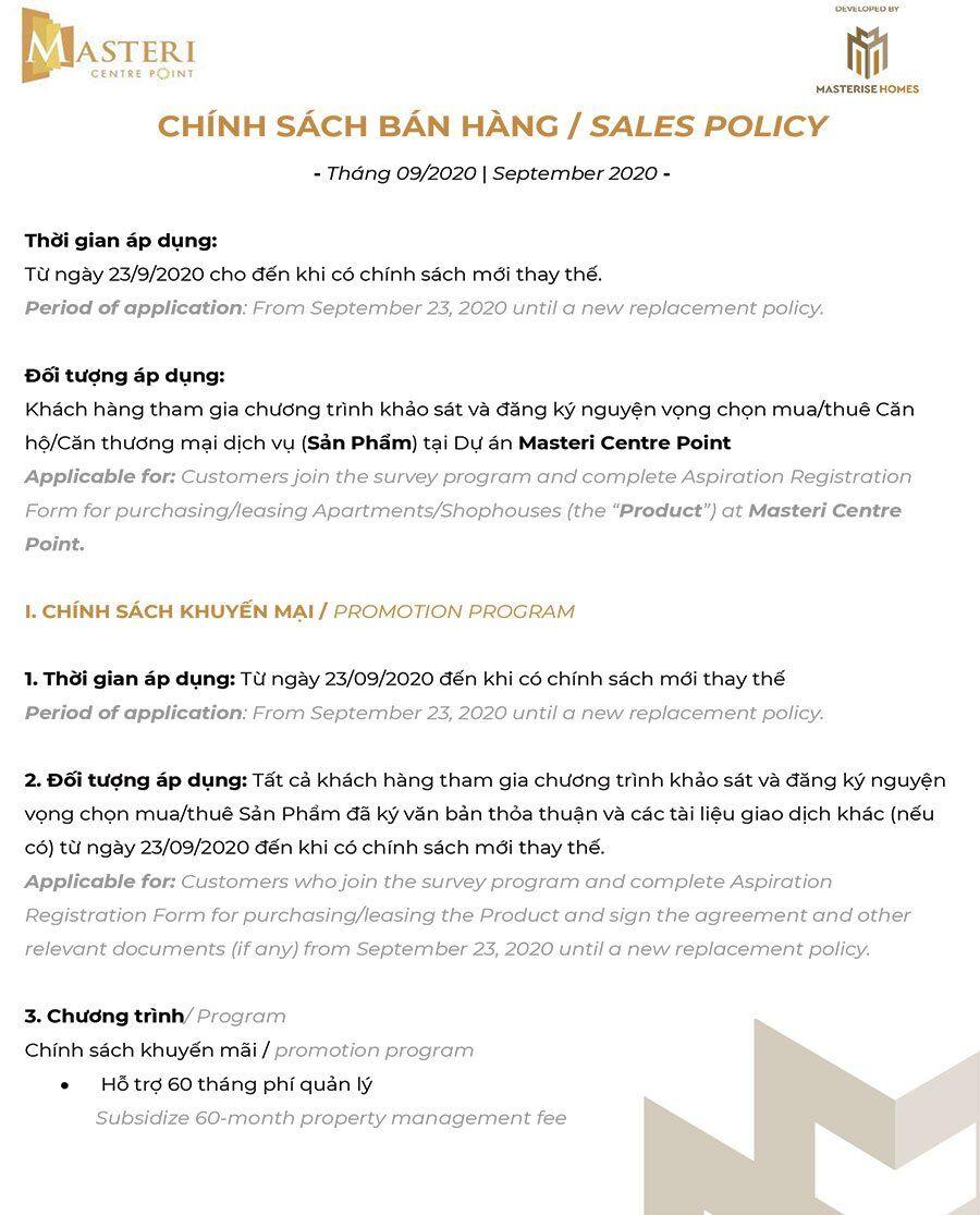 Chính sách bán hàng Masteri Centre Point, tháng 09/2020 - Trang 1.