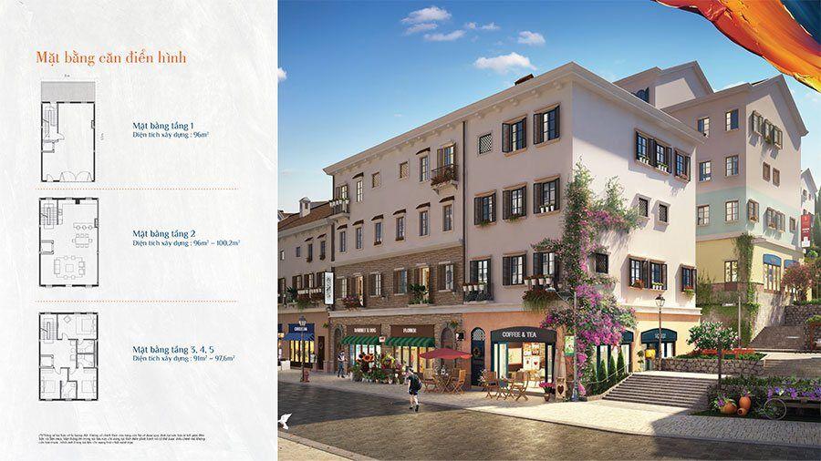 Mặt bằng tầng điển hình cho các căn shophouse Địa Trung Hải Primavera.