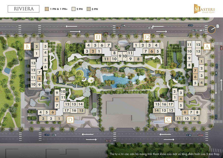 Mặt bằng tổng thể phân khu Riviera trong dự án Masteri Centre Point.