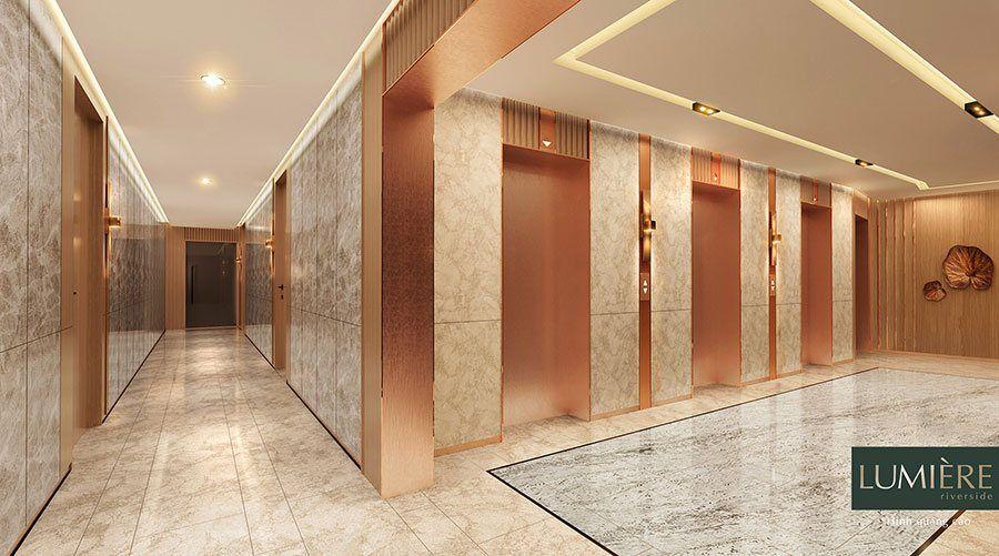 Sảnh thang máy của dự án được chăm chút tỉ mỉ.