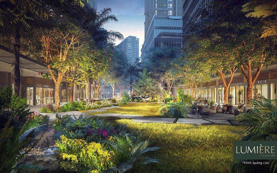 Những mảng xanh len lỏi trong khuôn viên dự án là điểm nhấn cho Masteri Lumiere Riverside.