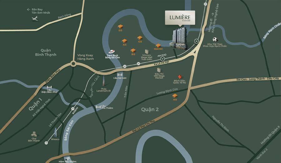 Vị trí Lumiere Riverside tại số 259 Xa Lộ Hà Nội, Thảo Điền, Quận 2