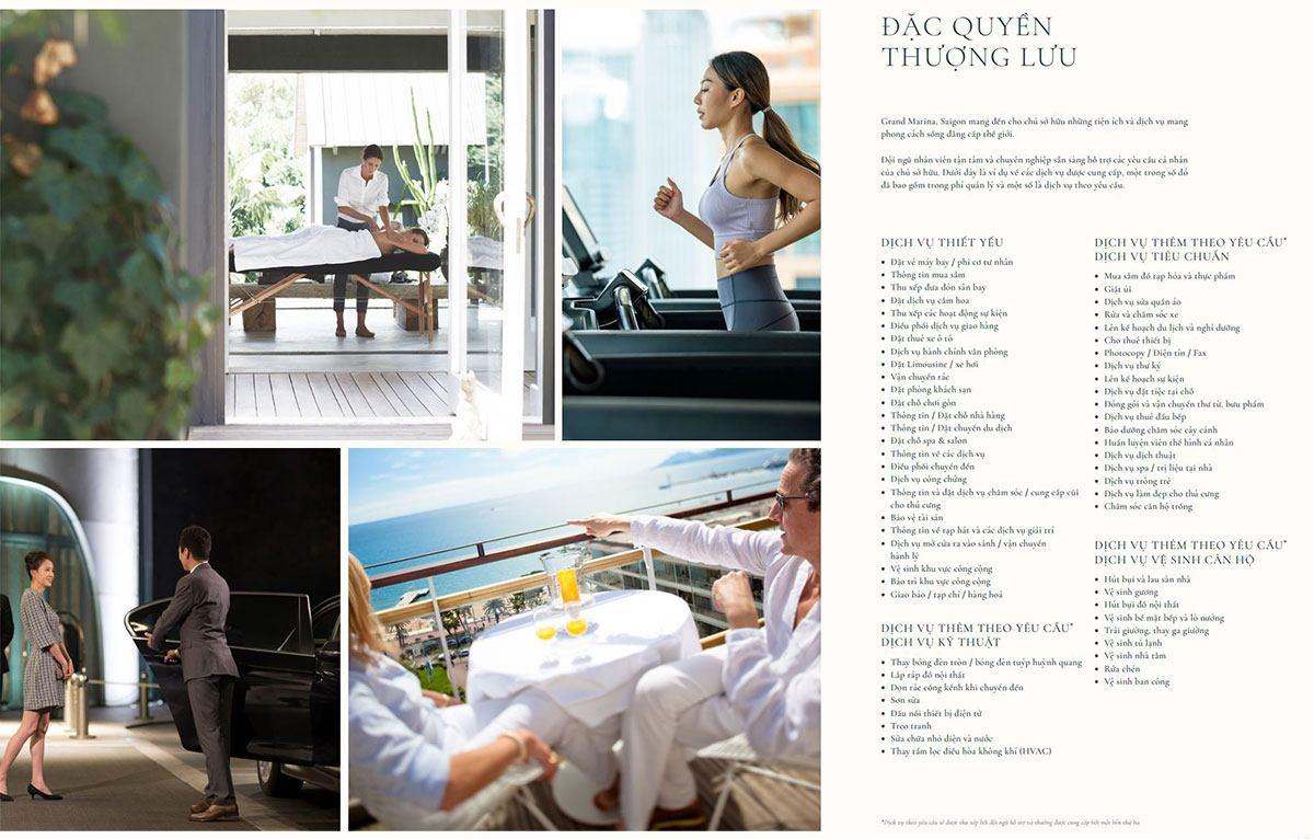 Grand Marina Saigon mang đến cho chủ sở hữu những tiện ích và dịch vụ mang phong cách sống đẳng cấp thế giới.