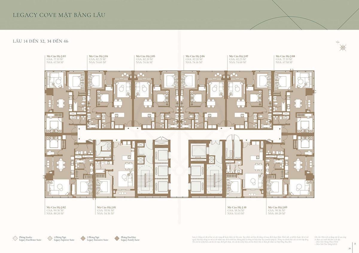 Mặt bằng tòa Cove: Tầng 14 đến tầng 32; tầng 34 đến tầng 46(phân khu Legacy)