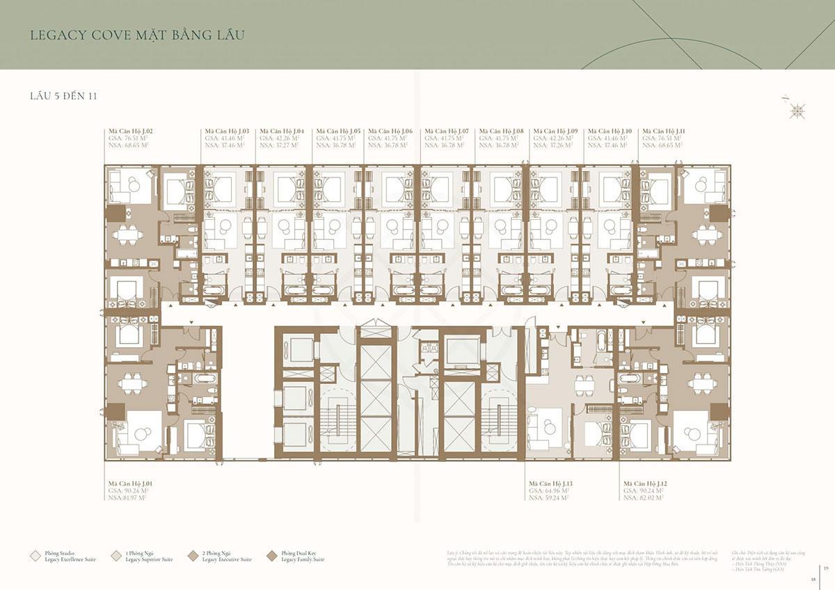 Mặt bằng tòa Cove: Tầng 5 đến tầng 11(phân khu Legacy)