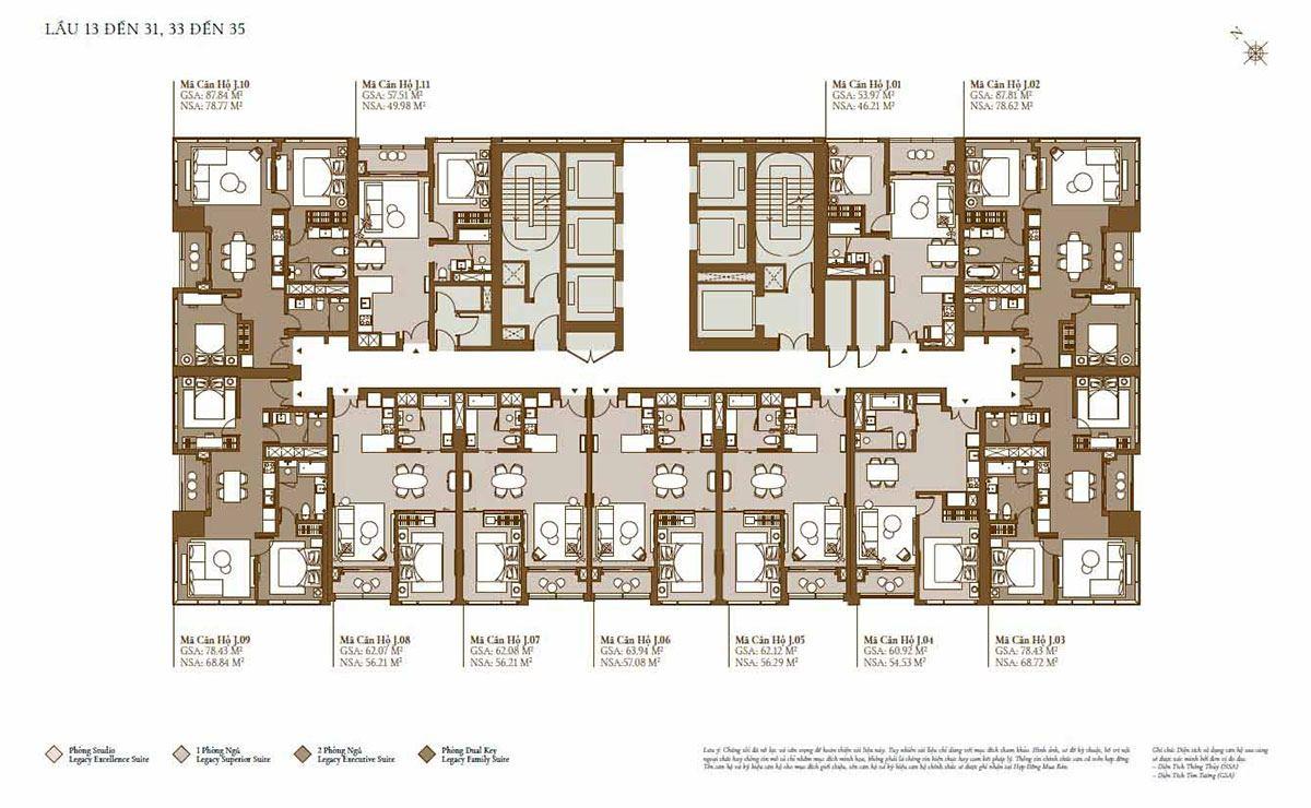 Mặt bằng tòa Lagoon: Tầng 13 đến tầng 31; tầng 33 đến tầng 35(phân khu Legacy)