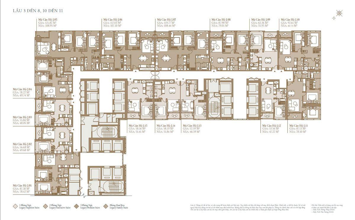 Mặt bằng tòa Sea: Tầng 3 đến tầng 8; tầng 10 đến tầng 11(phân khu Legacy)