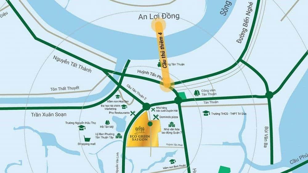 Vị trí dự án Eco Green Sài Gòn tại mặt tiền đường Nguyễn Văn Linh, Tân Thuận Tây, Quận 7.