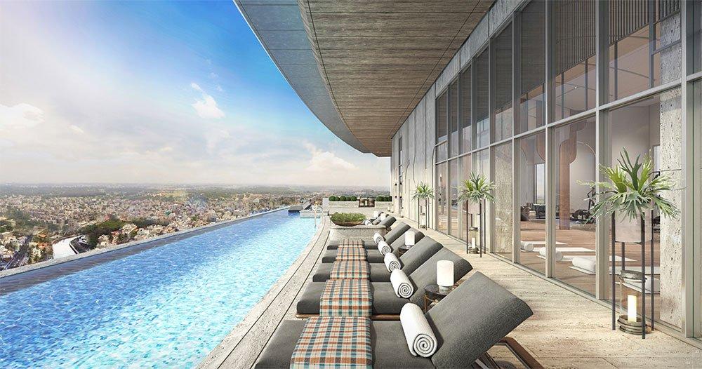 Hồ bơi vô cực với chiều dài 60m trên mái tòa tháp Sea, cao hơn mặt đường đến 46 tầng.