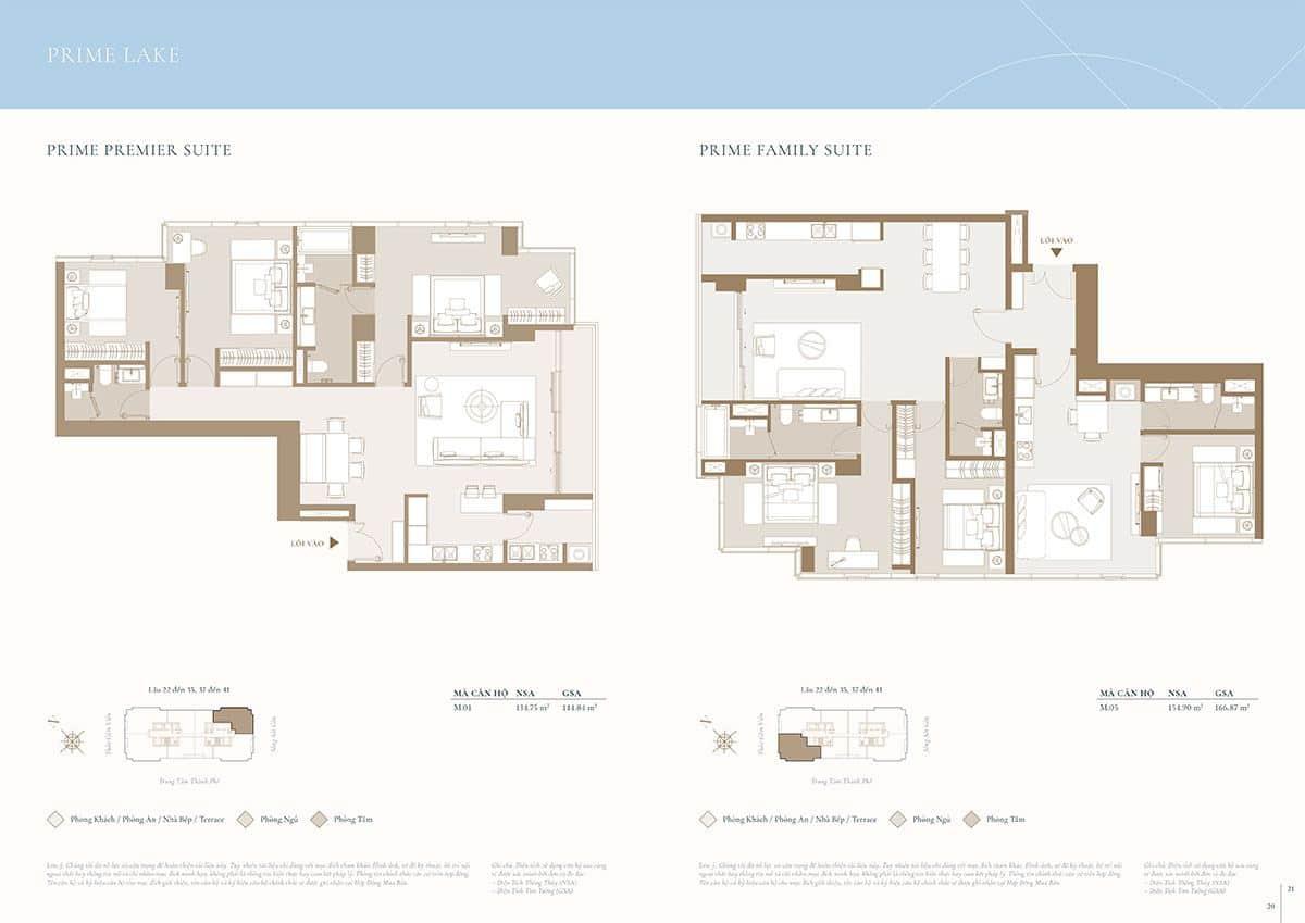 Mặt bằng căn hộ điển hình: Diện tích 134m2 và 154m2.