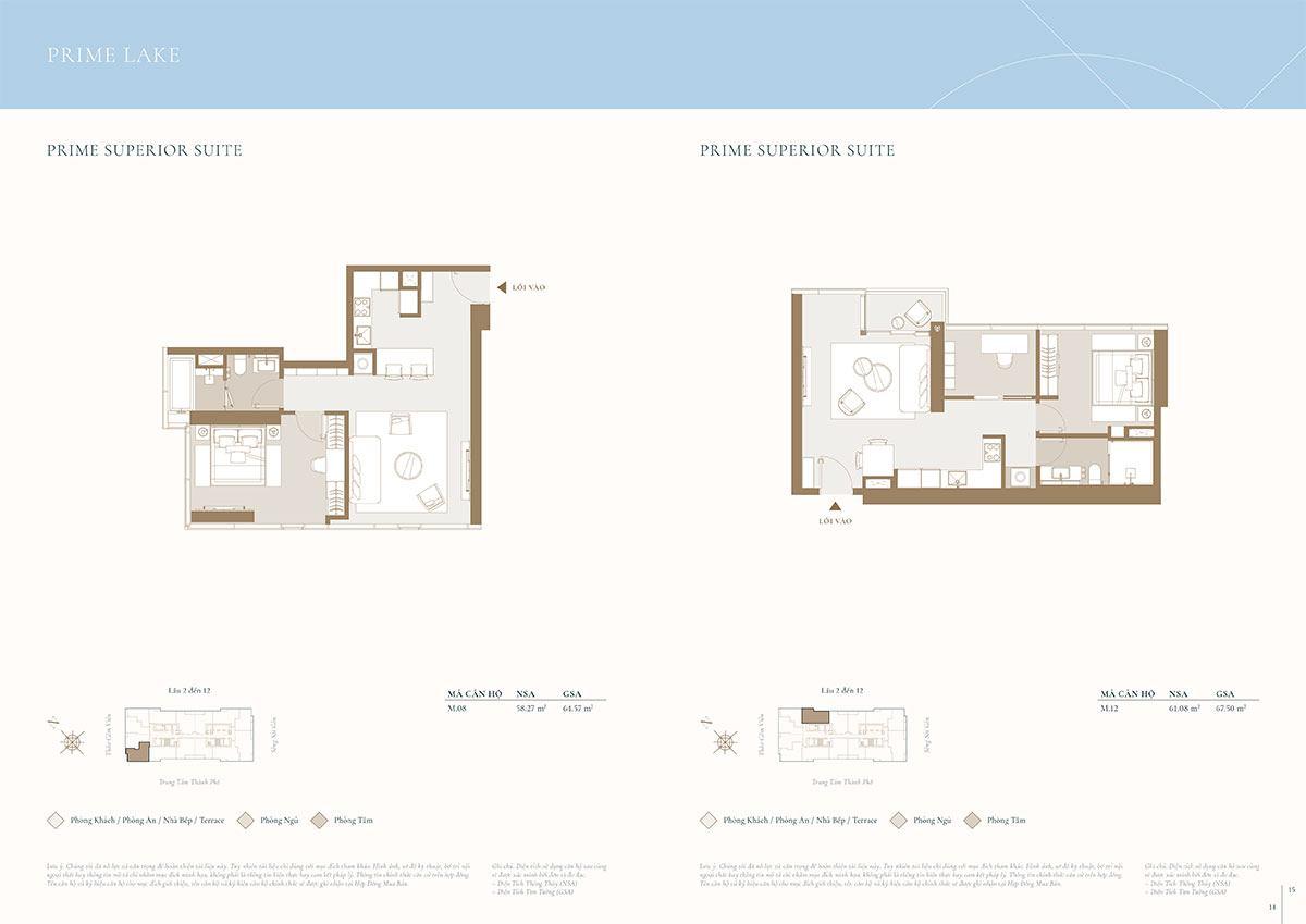 Mặt bằng căn hộ điển hình: Diện tích 58m2 và 61m2.
